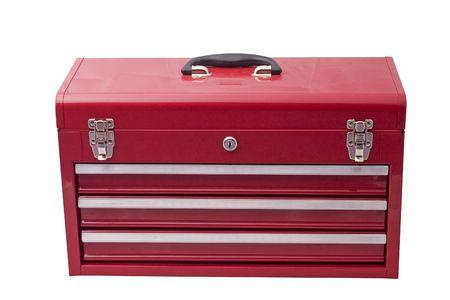 cajones: caja de herramientas de metal de color rojo con tres cajones y cerraduras cromo