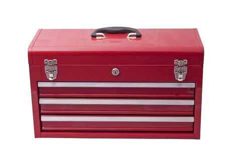 drawers: red metal tool box with three drawers and chrome latches Stock Photo