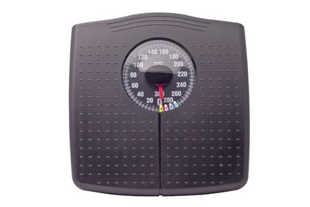 black weight scale isolated on white background Stock Photo
