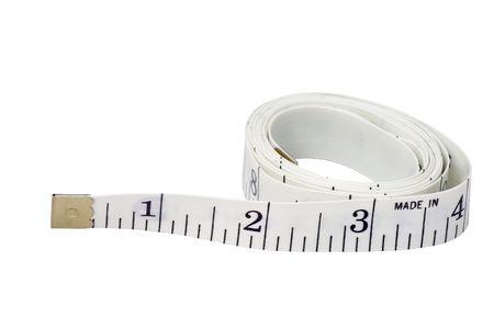測定テープが白い背景で隔離の白 写真素材