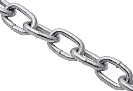 close up of metal chain on white background with details showing in metal Stock Photo - 2024264