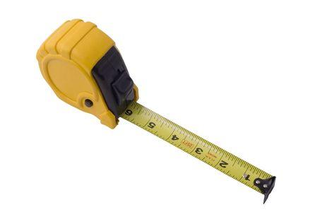 黄色と黒の白い背景に分離したテープを測定