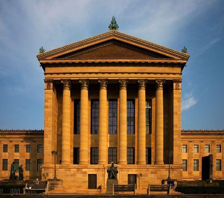 日が沈むフィラデルフィア美術館