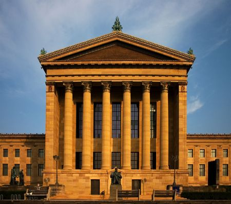 Philadelphia museum of art at sun down