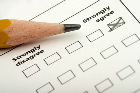checklist, questionnaire with strongly agree checked off