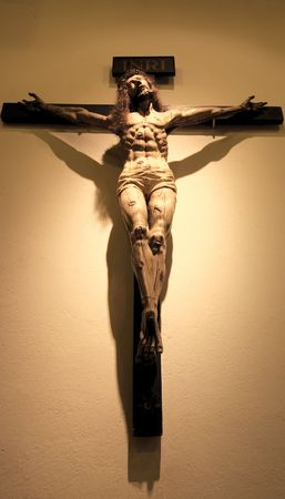 crucifiction: Jesus on the cross hanging on a wall in the Cathedral Basilica of St-Francis