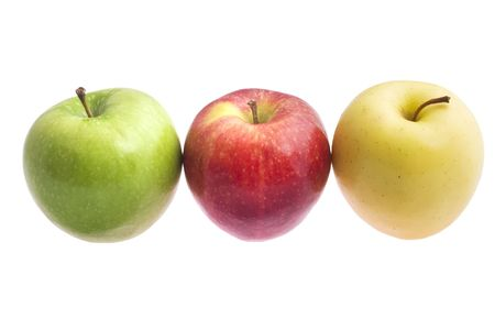 yellow apple: a green, red and yellow apple isolated on white background
