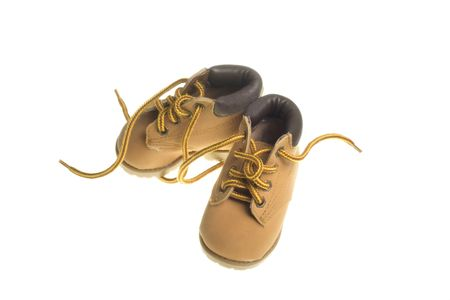 safety shoes: shoes for young child that look like safety shoes isolated on white background