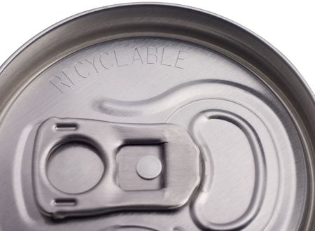 top of aluminum can with word recyclable etched in metal 版權商用圖片