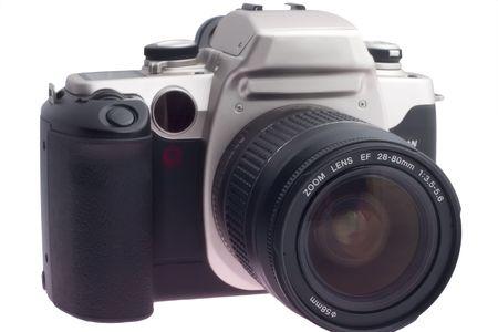 白い背景で隔離のデジタル一眼レフ 写真素材