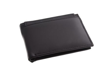 black leather wallet isolated on white background Banco de Imagens