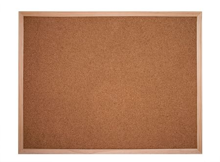 cork board framed with wood isolated on white - bulletin board