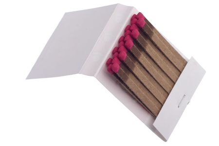 match book with pink matches isolated on white background