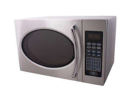 microwave oven: horno microondas met�lico aislado en blanco Foto de archivo