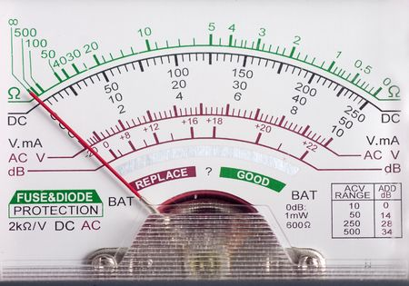 multimeter display closeup with voltage and amps for AC and DC current