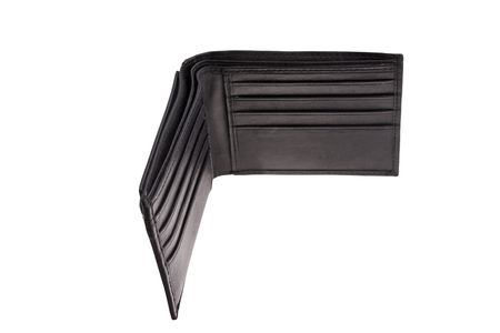 open black leather wallet isolated on white background