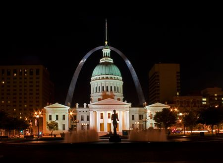 St Louis old court house at night with arch in the background
