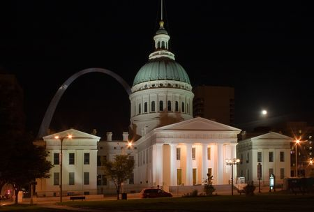 Old Courthouse in St Louis with Arch in the background