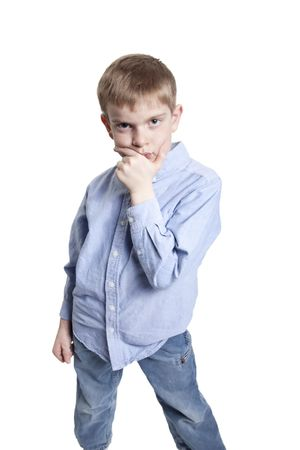 preteen boys: boy deep in thought isolated on white background in studio