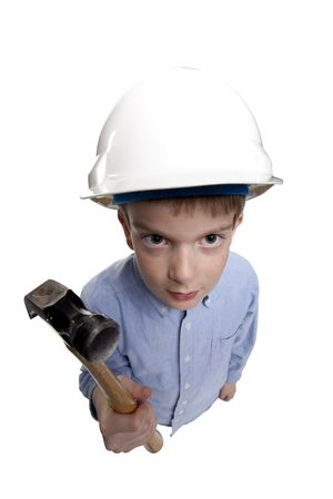 young boy wearing hard hat and holding a hammer Stock Photo - 10205962