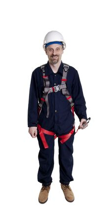 personal protective equipment: Man wearing fall protection harness and lanyard