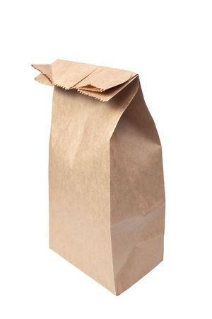 白い背景で隔離の紙袋