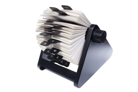 rotary card file for storing contact information Stock Photo