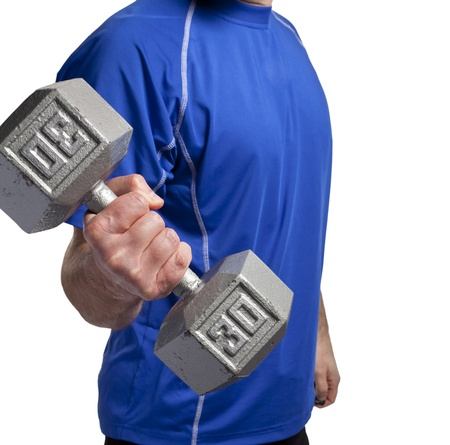 man exercising with 30 pound dumbbell Stock fotó