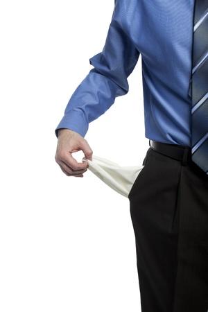 bolsa dinero: hombre de negocios con sus bolsillos vac�os, demostrando que no tiene dinero