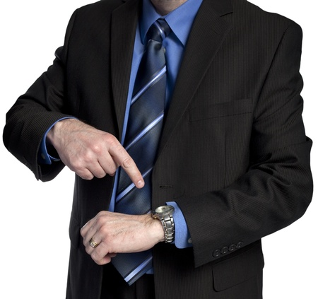 suggesting: boss is pointing at his watch suggesting you are late for work