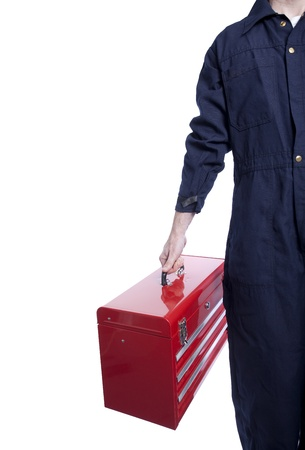 close up of a handyman in blue coveralls with a bright red toolbox Stock Photo - 12286059