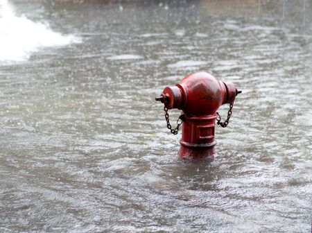 Fire hydrant The flood In a heavy rain