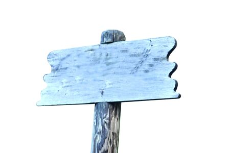 Wooden sign on a white background