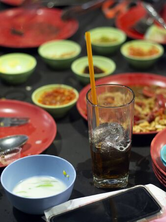 Popular soft drink on the table every meal at a party