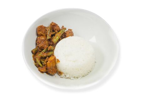 Stir Fried Pork Belly with Chili Paste and Vegetables on a white background Stock fotó