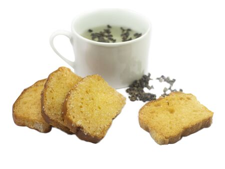 Crispy Sugar Toast  and green hot tea,with clipping path
