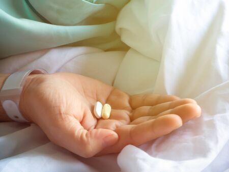 Patients having drugs To treat patients With shaky hands As a result, the image becomes blurred Stock fotó
