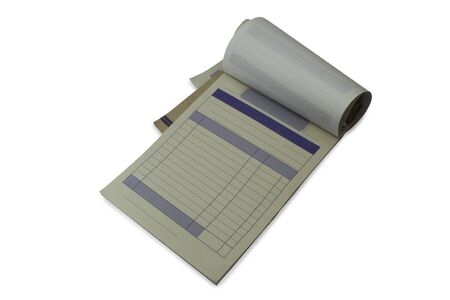 receipt book on a white background