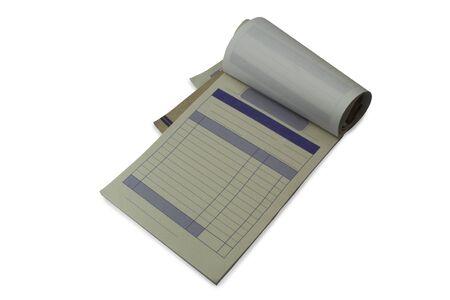Quittungsbuch auf weißem Hintergrund