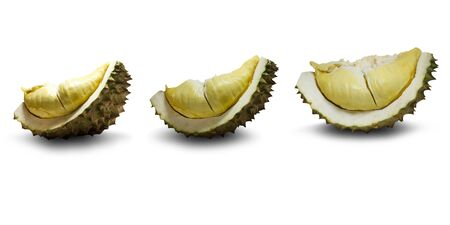 Durian on a white background,clipping path,Be the king of fruit Large and hard thorns,up to 30 cm long, weighing 1-3 kg.The fruit is oval to round.The skin is green to brown.The flesh is pale yellow 版權商用圖片