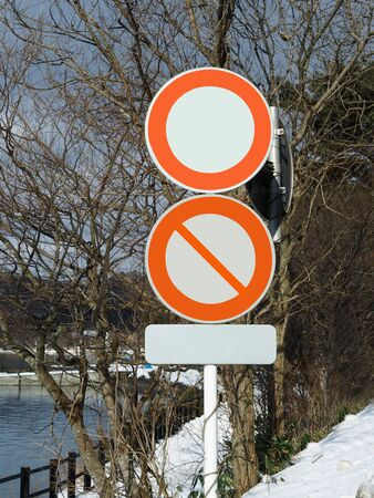 Traffic sign on snow  background
