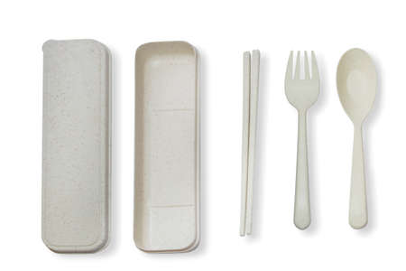 Cutlery set with chopsticks on a white background 免版税图像