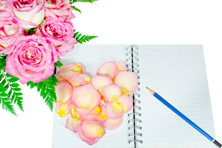 diary of love on  white background photo