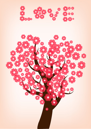 cherry blossom tree: beautiful cherry blossom tree,illustration vector Illustration