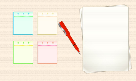 paper note: Lined paper and Note Paper. Vector Illustration