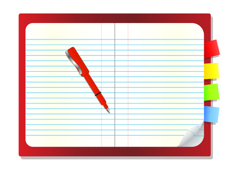 blank note: Open blank note book with some stickies isolated on a white background,Vector