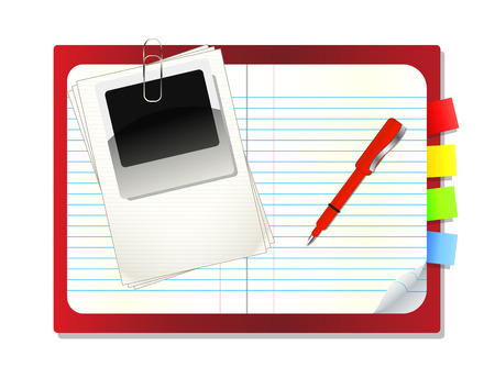 mark pen: Notebook with book mark,pen and instant photo,Vector