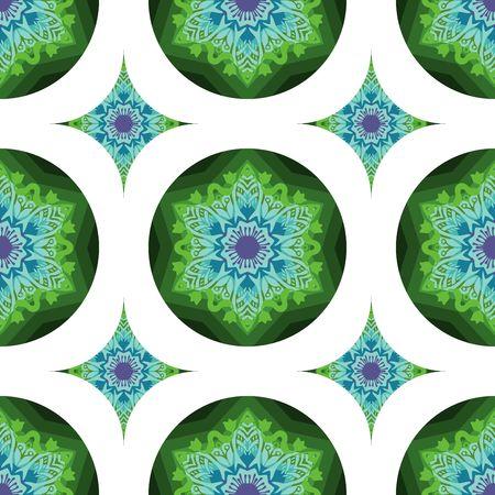 conception de fleur de mandala tribal pour un vecteur de motif harmonieux avec des tons de couleur bleu et vert Vecteurs