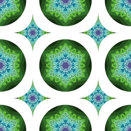 tribal mandala flower design for seamless pattern vector with blue and green color tone