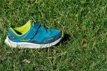 Childs blue and green shoe sits in the sunshine on the green grass prepared for activity and sports in the summer.